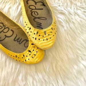 Sam Edelman Yellow Leather Alligator Ballet Flats